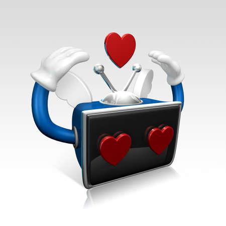 3d television man falling love and confessing his love Stock Photo