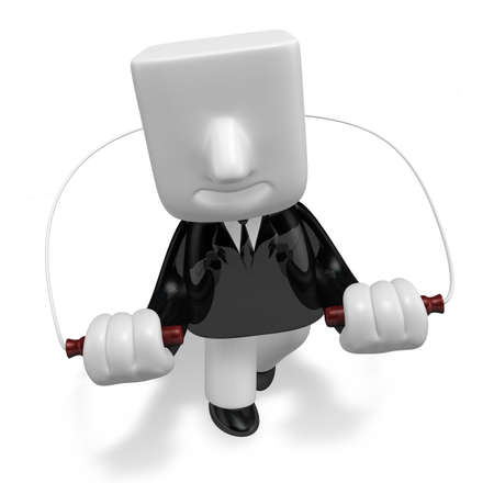3d business man exercising with his skipping rope
