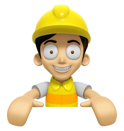 3D Construction Worker Man Mascot holding a big board with both hands. Work and Job Character Design Series 2. Stock Photo