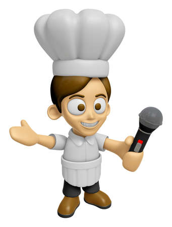 mankind: 3D Chef Man Mascot is holding a microphone. Work and Job Character Design Series 2.