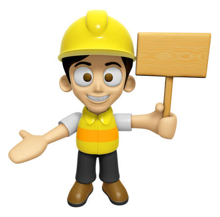 3D Construction Worker Man Mascot the hand is holding a picket. Work and Job Character Design Series 2.