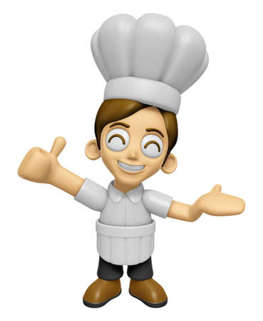 introduce: 3D Chef Man Mascot the right hand best gesture and the left hand guides. Work and Job Character Design Series 2. Stock Photo