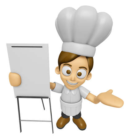 3D Chef Man Mascot is presentation in front of the a briefing chart. Work and Job Character Design Series 2. Stock Photo