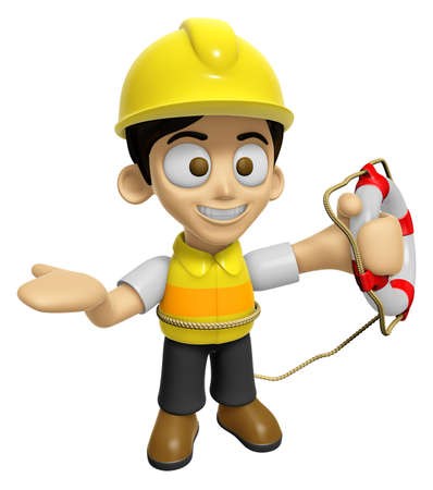 3D Construction Worker Man Mascot the hand is holding a Lifebelt. Work and Job Character Design Series 2. Stock Photo