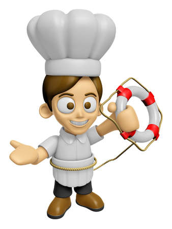 3D Chef Man Mascot the hand is holding a Lifebelt. Work and Job Character Design Series 2. Stock Photo