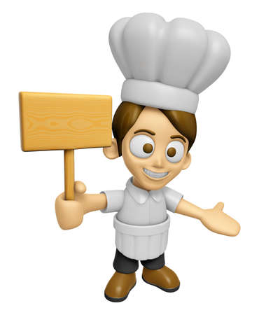 3D Chef Man Mascot the hand is holding a picket. Work and Job Character Design Series 2