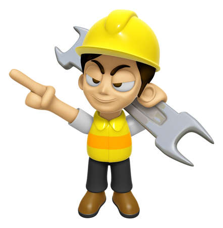 mankind: 3D Construction Worker Man Mascot is slung the spanner over his shoulders. Work and Job Character Design Series 2.