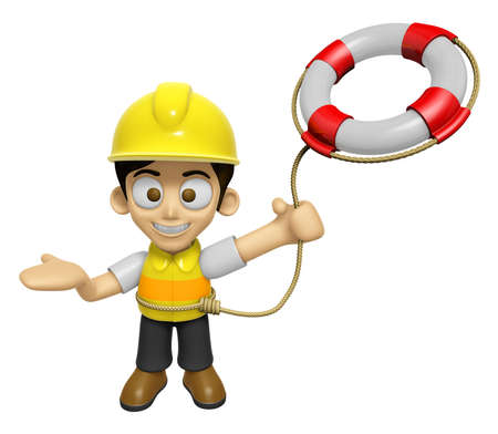 3D Construction Worker Man Mascot is throwing a Lifebelt. Work and Job Character Design Series 2. Stock Photo
