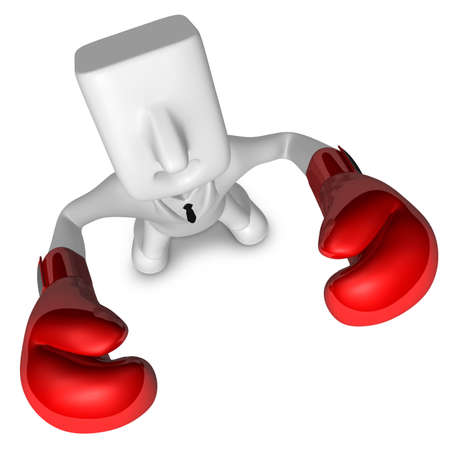 pugilist: 3D businessman with boxing gloves. 3D Square Man Series. Stock Photo