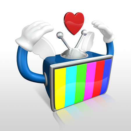 3d color bar television man standing with his hands up