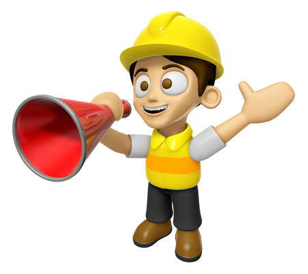 3D Construction Worker Man Mascot is speakn over a loudspeaker. Work and Job Character Design Series 2.