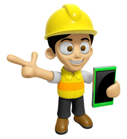 3D Construction Worker Man Mascot the right hand guides and the left hand is holding a Smart Phone. Work and Job Character Design Series 2. Stock Photo