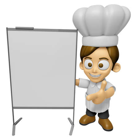 3D Chef Man Mascot is concise explanation of a whiteboard. Work and Job Character Design Series 2.