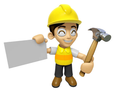 3D Construction Worker Man Mascot holding a with both hammer and business card. Work and Job Character Design Series 2.