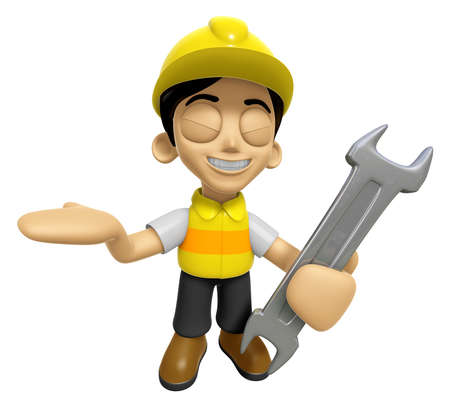 3D Construction Worker Man Mascot the right hand guides and the left hand is holding a spanner. Work and Job Character Design Series 2.