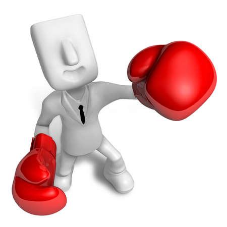 pugilist: 3d Businessman powerful punch. 3D Square Man Series.
