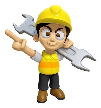 3D Construction Worker Man Mascot is slung the spanner over his shoulders. Work and Job Character Design Series 2.