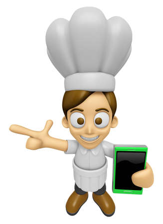 3D Chef Man Mascot the right hand guides and the left hand is holding a Smart Phone. Work and Job Character Design Series 2.
