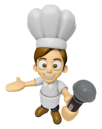 3D Chef Man Mascot is holding a microphone. Work and Job Character Design Series 2.