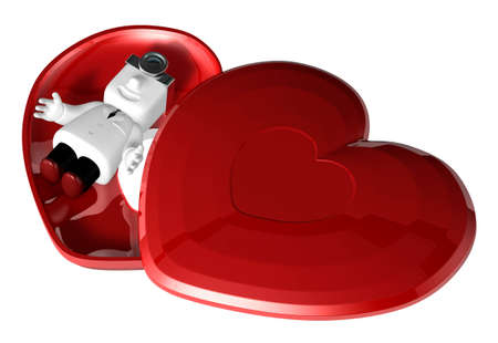 Médico 3D en el cuadro de corazón rojo. 3D Square Man Series.