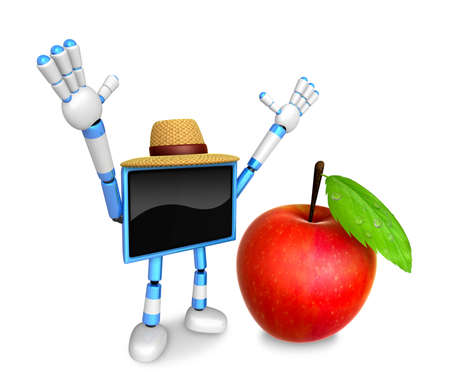 Blue TV character are surprised to see the big apple.  Create 3D Camera Robot Series. Stock Photo