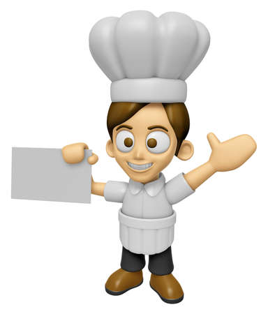3D Chef Man Mascot is holding a business card. Work and Job Character Design Series 2.
