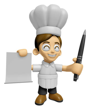 3D Chef Man Mascot hand is holding a Document and ballpoint pen. Work and Job Character Design Series 2.