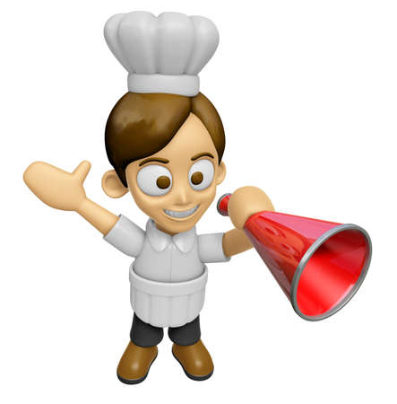 loudspeaker: 3D Chef Man Mascot is speakn over a loudspeaker. Work and Job Character Design Series 2. Stock Photo