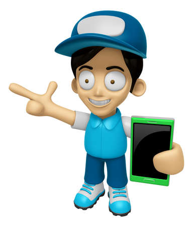 3D Delivery Service Man Mascot the right hand guides and the left hand is holding a Smart Phone. Work and Job Character Design Series 2.
