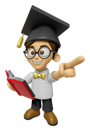 doctorate: 3D Scholar Man Mascot the left hand guides and the right hand is holding a book. Work and Job Character Design Series 2.
