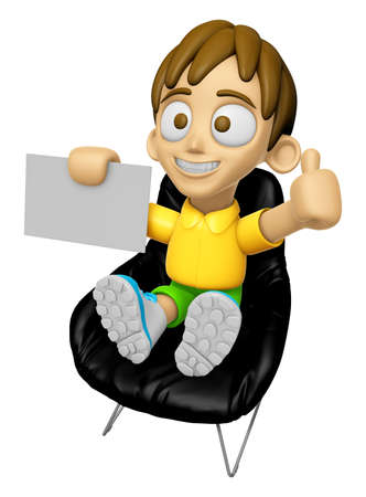 mankind: 3D Child Mascot is sitting on a chair assume the gesture of the best. Work and Job Character Design Series 2.