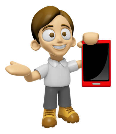 3D Man Mascot the right hand guides and the left hand is holding a Smart Phone. Work and Job Character Design Series 2.