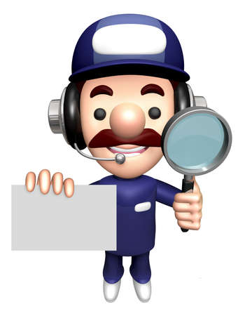 3D Mechanic Mascot is holding the Magnifier and Business Card.