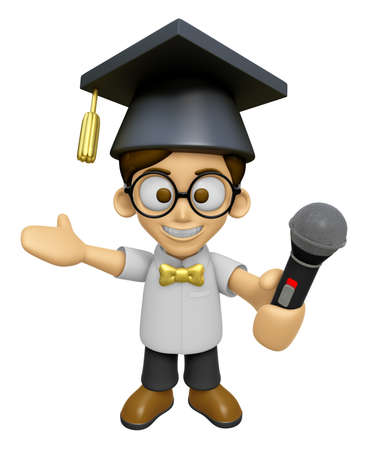 3D Scholar Man Mascot the hand is holding a Microphone. Work and Job Character Design Series 2. Stock Photo