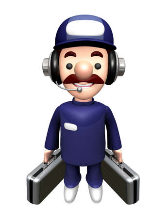 3D Technician Mascot holding a bag with both hands.