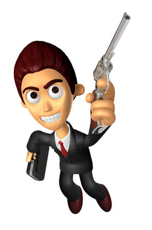 3D Business man Mascot is taking pose a gunfight. Work and Job Character Design Series. Stock Photo