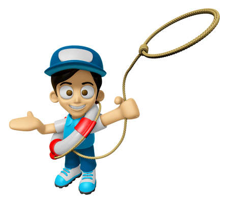 3D Delivery Service Man Mascot is throwing a Life rope. Work and Job Character Design Series 2.