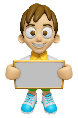 3D Child Mascot holding a big board with both hands. Work and Job Character Design Series 2. Stock Photo