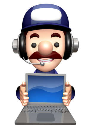 3D Repairman Mascot is holding a Laptop. Stock Photo