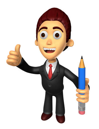 3D Business man Mascot the left hand best gesture and right hand is holding a pencil. Work and Job Character Design Series. Stock Photo