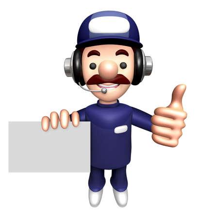 businesscard: 3D Technician Mascot a gesture of thumb holding a Business card.