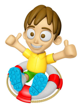 3D Child Mascot is played in the pool on a tube. Work and Job Character Design Series 2.