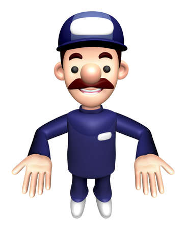 3D Mechanic Character a gesture to lift things. Stock Photo