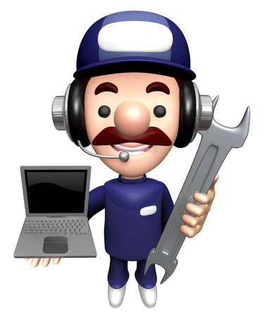 3D Repairman Character is holding the Spanner and Laptop. Stock Photo