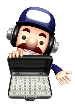 3D Engineer Mascot is holding a Dollar Attach Case. Stock Photo