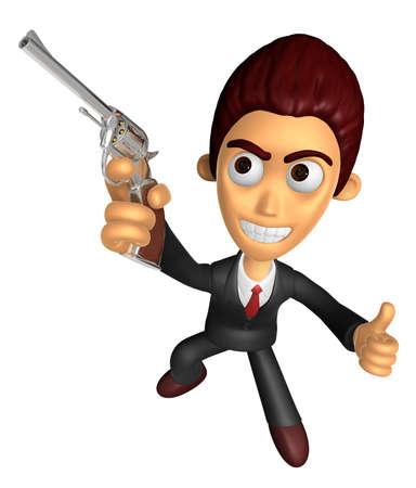 3 D のビジネスの男性マスコット右手の最高のジェスチャーと左手は自動拳銃の銃を保持しています。仕事と仕事のキャラクターのデザインのシリー