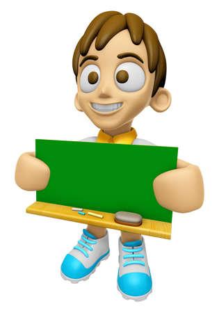 niño parado: Mascota del Niño 3D sosteniendo un gran tablero con tanto verde de la pizarra. Trabajar y Carácter de empleo Diseño Serie 2.