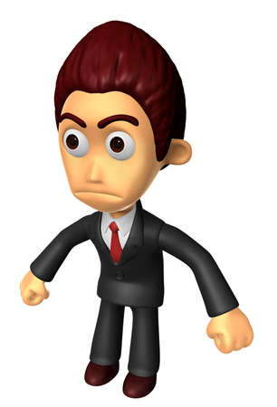 3D Business man Mascot as a gesture of anger. Work and Job Character Design Series.
