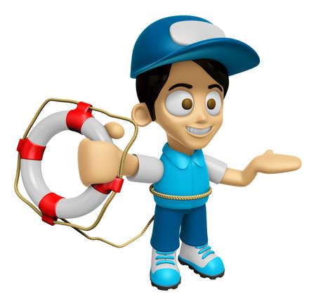 mankind: 3D Delivery Service Man Mascot the hand is holding a Lifebelt. Work and Job Character Design Series 2.