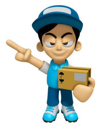 mankind: 3D Delivery Service Man Mascot is points a finger one direction. Work and Job Character Design Series 2.